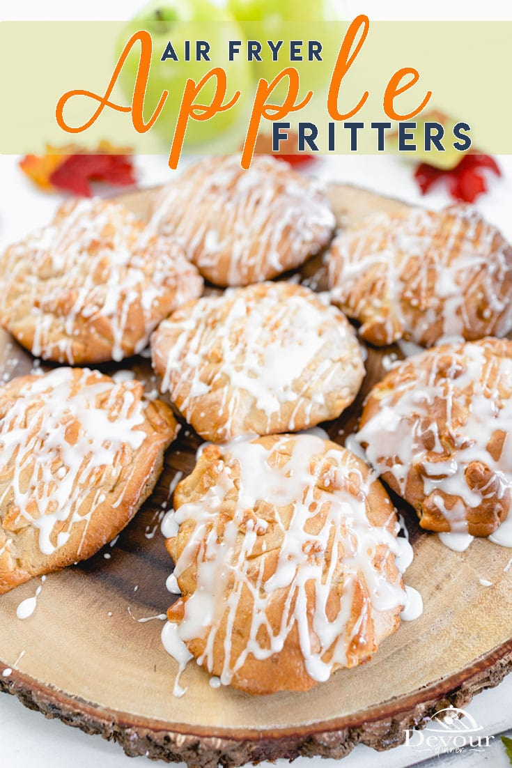 Air Fryer Apple Fritters are a soon to be favorite fritter recipe. Perfect for Fall a Fritter is a cross between a cake and a donut and fantastically delicious when Air Fried which means they are a bit healthier than deep fat frying which means I might just enjoy two. #devourdinner #Devourpower #whatsfordinner #Eatingfortheinsta #food #yum #delicious #fresh #foodie #feedfeed #thefeedfeed #huffposttaste #foodprnshare #droolclub #f52grams #cooking #forkfeed #applefritter #airfryerapplefritter