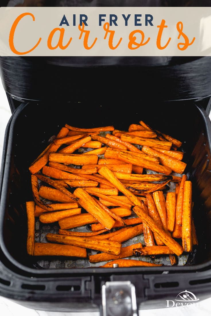 Perfectly Caramelized Air Fryer Carrots are fantastic when served as a side dish recipe. Made with Carrots, Balsamic Vinegar, Olive Oil & salt and pepper. Air Frying Vegetables to serve with dinner is an easy recipe with few ingredients. You will love the natural flavors that come out in this quick and easy recipe. #devourdinner #Devourpower #whatsfordinner #Eatingfortheinsta #food #yum #delicious #fresh #foodie #feedfeed #thefeedfeed #huffposttaste #foodprnshare #droolclub #airfryercarrots