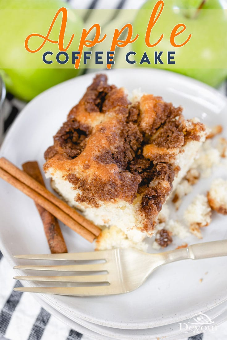 Apple Coffee Cake with a Streusel Topping Hand mixed and with only a few ingredients it's a perfect recipe to enjoy with Coffee, Tea or even a cup of Hot Cocoa. #devourdinner #Devourpower #whatsfordinner #Eatingfortheinsta #food #yum #delicious #fresh #foodie #feedfeed #thefeedfeed #huffposttaste #foodprnshare #droolclub #f52grams #cooking #forkfeed #comfortfood #quarantinecooking #dinnerideas #foodiesofinstagram #applecoffeecake #easyrecipe #easycoffeecake #melissasproduce #dixiecrystals #yum