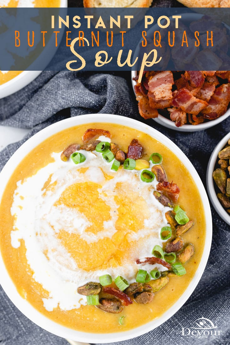 Butternut Squash Soup easily made in the Instant Pot made with butternut squash, carrots, celery, onions, apples, and spices for a Delicious soup recipe. Pressure Cooked and tastes like a slow simmer in a fraction of the time. Butternut Squash has a sweet nutty flavor. #devourdinner #devourpower #instantpot #instantpotrecipe #souprecipe #fallflavors #melissasproduce #easyrecipe #septembersoup #souprecipe #whatsfordinner #Eatingfortheinsta #food #yum #delicious #fresh #feedfeed #thefeedfeed