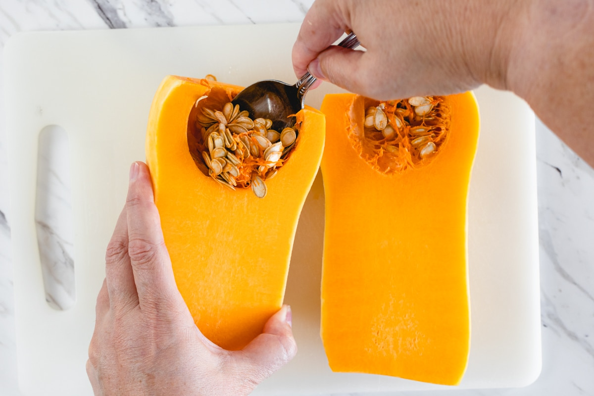remove seeds from Butternut Squash
