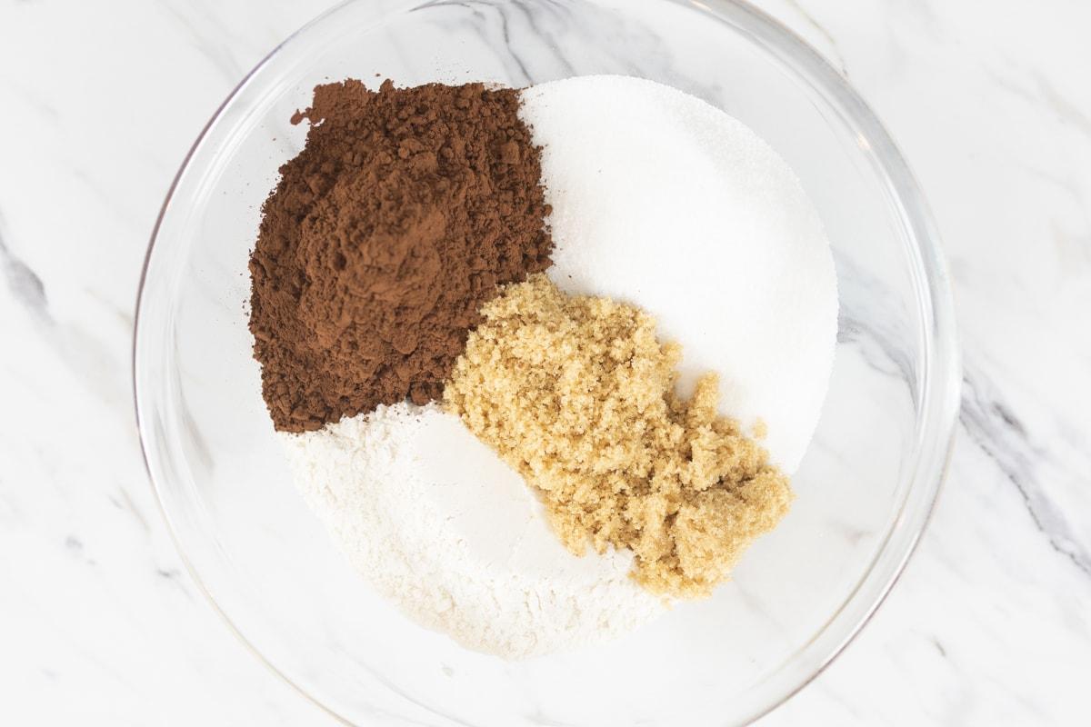 Flour, Sugar, Brown Sugar, Cocoa in bowl