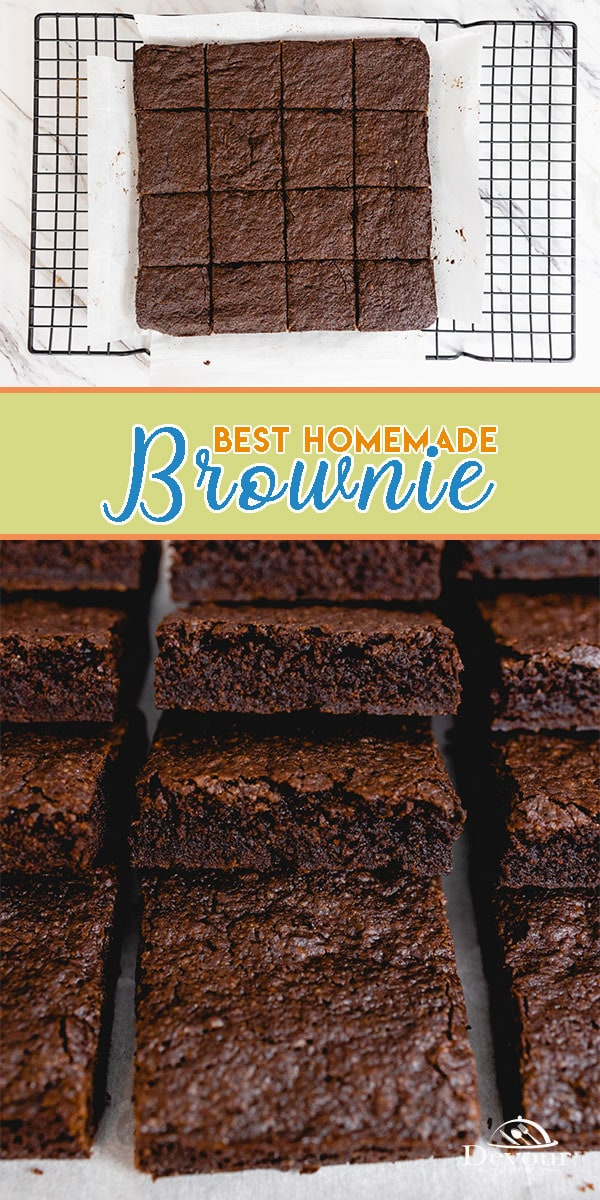 Hand mix the Best Brownie Recipe with quality ingredients for perfect fudgy brownies. This recipe is spot on for a delicious dessert or dress it up. Step by step directions and easy recipe to make with the kids or those less experienced bakers. #devourdinner #devorpower #dessert #brownies #homemadebrownies #bonappetitmag #thekitchn #recipeoftheday #americastestkitchen #buzzfeedfood #cooksillustrated #foodgawker #bareaders #foodblogfeed #cookit #mywilliamsonoma #imsomartha #yum #yummy #eats