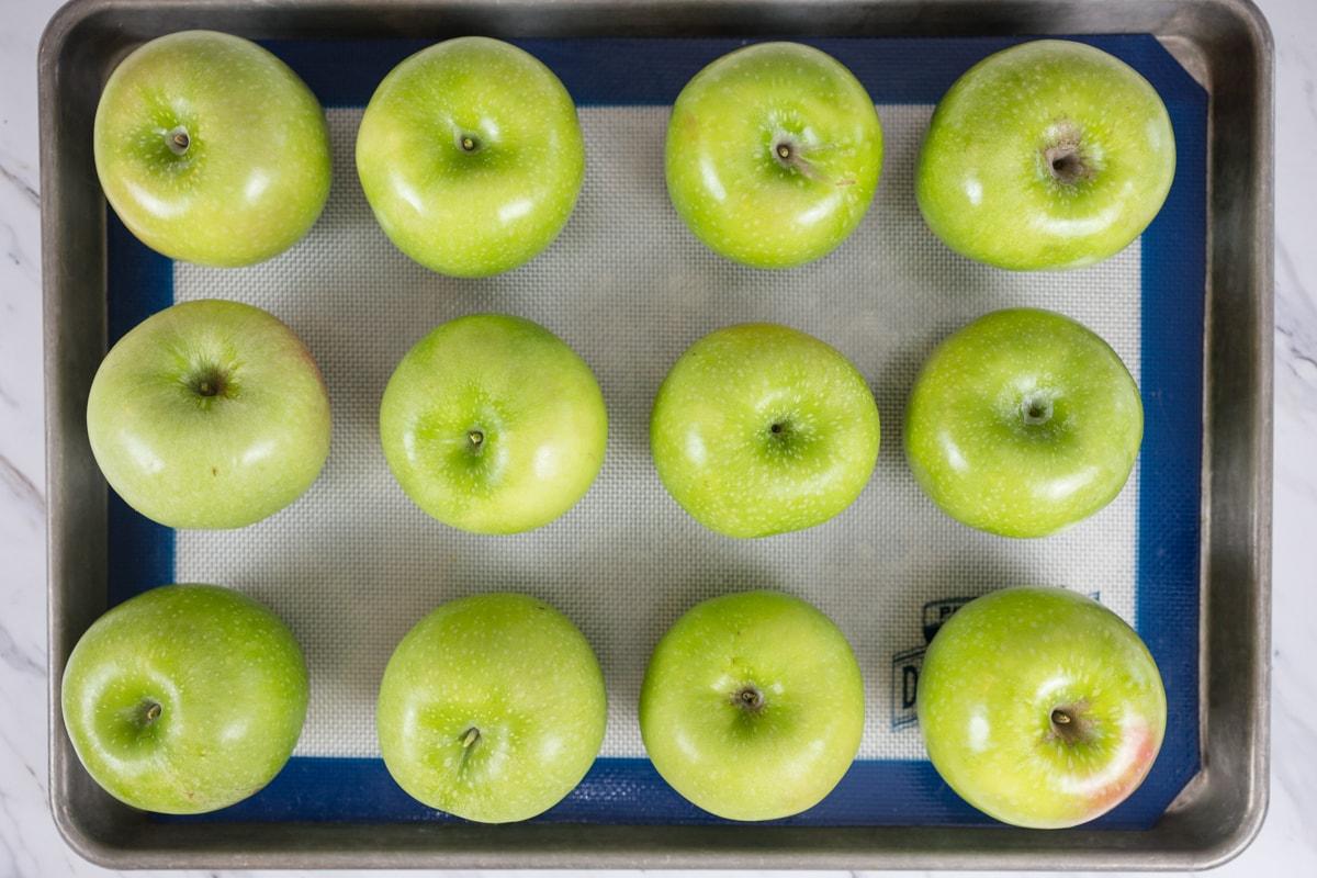 Apples on a baking sheet