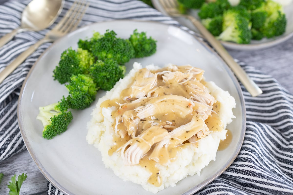 Chicken and Gravy on plate with broccoli