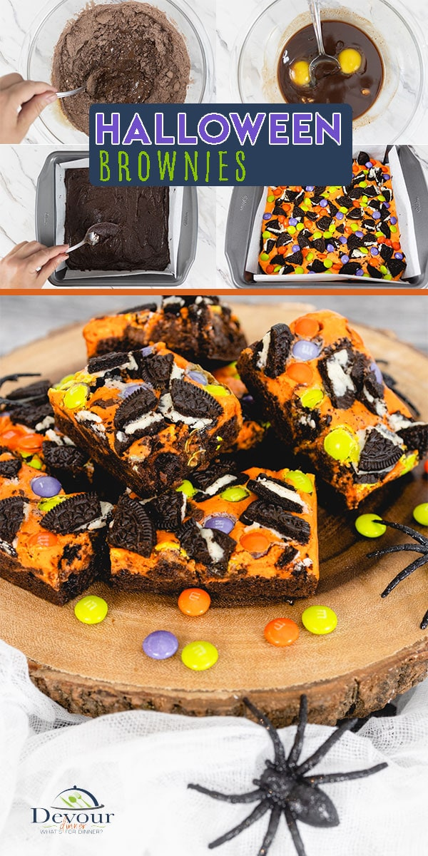 Spooky and Delicious Halloween Brownies made from scratch and fudgy and delicious. Topped with bright Orange cream cheese mixture with M&M and Oreo Cookies baked on top. Fun bar brownie dessert made at home. Makes 16 brownies. #devourdinner #devourpower #brownies #halloweenbrownies #halloweenbrownierecipe #bonappetitmag #thekitchn #recipeoftheday #americastestkitchen #buzzfeedfood #cooksillustrated #foodgawker #bareaders #foodblogfeed #droolclub #makeitdelicious #dixiecrystal @dixiecrystals