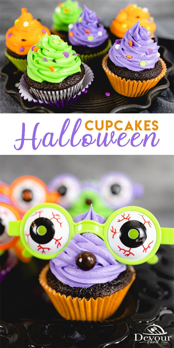 Silly and Spooky Halloween Cupcakes are brightly colored Cupcakes that everyone will love. Made with a simple chocolate cupcake recipe that is delicious! Frost with brightly colored frosting, topped with sprinkles or spooky glasses. Fun for kids of all ages. #devourdinner #devourpower #desssert #halloweencupcakes #bonappetitmag #thekitchn #recipeoftheday #americastestkitchen #buzzfeedfood #cooksillustrated #foodgawker #bareaders #foodblogfeed #droolclub #desserts #cupcakes