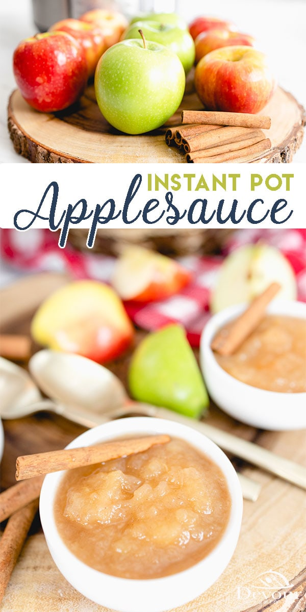 Fresh applesauce is the BEST. Try making it in the Instant Pot with only a few ingredients and delicious results. It's quick and easy and a favorite recipe to make and follow. Included crock pot or slow cooker directions. Anyone can make this recipe. Freezes easily for lasting results. #devourdinner #devourpower #bonappetitmag #thekitchn #recipeoftheday #americastestkitchen #buzzfeedfood #cooksillustrated #foodgawker #bareaders #foodblogfeed #droolclub #makeitdelicious #yum #yummy #recipe
