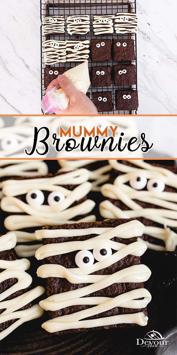 Spooky Mummy Brownies a Halloween Treat for the little ghosts and goblins in your home. Made with an Easy Brownie Recipe hand mix and enjoy. Homemade brownie recipe, and decorate with white chocolate and candy eyes for this fun and tasty dessert recipe. #devourdinner #bonappetitmag #thekitchn #recipeoftheday #americastestkitchen #buzzfeedfood #cooksillustrated #foodgawker #bareaders #foodblogfeed #droolclub #makeitdelicious #scrumptiouskitchen #dessertrecipe #mummybrownies #brownierecipe